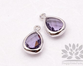 F121-S-VI// Silver Plated Violet Faceted Teardrop Glass Pendant, 2 pcs