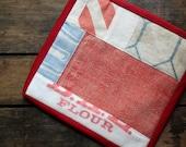 """Pot Holder, """"BAL Flour"""", Vintage Flour Sack Scraps , Red, Blue, White, Ticking, Feed Sack, Flour Sack, Hot Pad"""