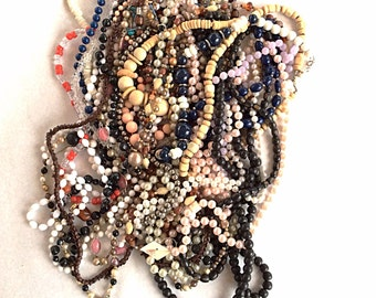 Huge lot vintage jewelry lot beaded necklaces to wear or  reuse beads and  repurpose
