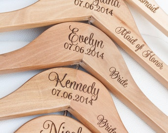 1 - Personalized Bridal Wedding Rustic Hanger - Engraved Wood