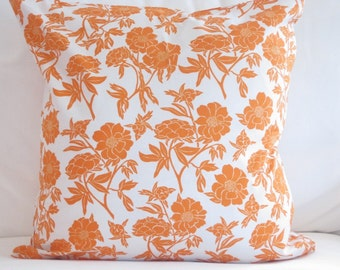 pillow covers, orange pillows, orange floral pillow, chair pillow, decorative pillows, orange toss pillow, floral cushion, pillows for couch