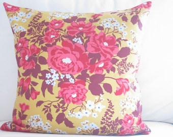 18 x 18 inch floral pillow covers, 20 x 20 inch floral pillow covers, pink yellow floral pillow covers, boho pillow covers, floral pillows