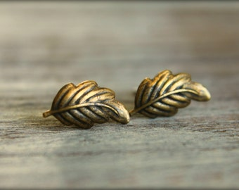 Little Leaf Earring Posts in Antiqued Brass