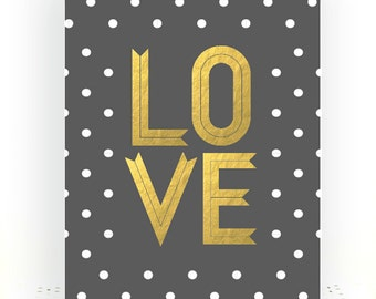 Love Nursery Art- Nursery Art Print- Gold Nursery Decor- Gold Nursery Art- Gold Nursery Print- Gray White Nursery- Gray and Gold Nursery