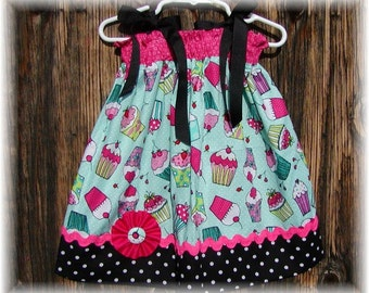 Girls Dress  Pillowcase style....Cupcake Alicious...sizes 0-3, 0-6, 6-12, 12-18, 18-24 months, 2T, 3T