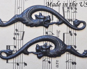 Gothic gargoyle brass stampings, one set, black satin finish