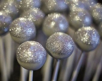 SILVER CAKE POPS, Metallic Cake Pops, Party Favors, Wedding Favors, New Year Cake Pops, All Colors Available
