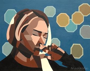geometric, abstract art, sad girl, Nashville, Hayden Panettiere, emotional art, pensive, geometric shapes, figurative painting, woman blue