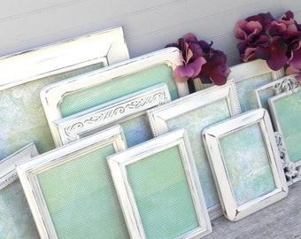 Shabby Chic Antique White/Cream Frame Collection, Set of 10 Photo Frames, Wedding Decor Frames