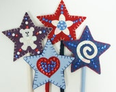 Americana Stars on a Stick- Set of 4- Wool Felt Blend, Sequins, Beads, Applique