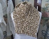 SALE  OOAK Elegant Metallic Gold Ribbon Womens Scarf, Handmade Crochet Ladies Year Round Scarf, ECS,