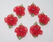 Dainty Set of 6 Red Organza Ribbon Flowers with Bead Centers, Sewing, Crafting, Mixed Media, ECS, FREE Shipping