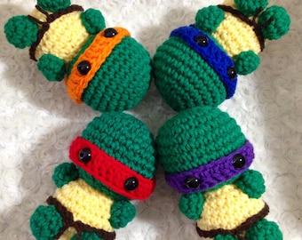 Set of 4 Amigurumi Crochet Turtle with Ninja Headbands -  You choose colors - Handmade Crocheted Boys or Girls - Collectible Art Doll