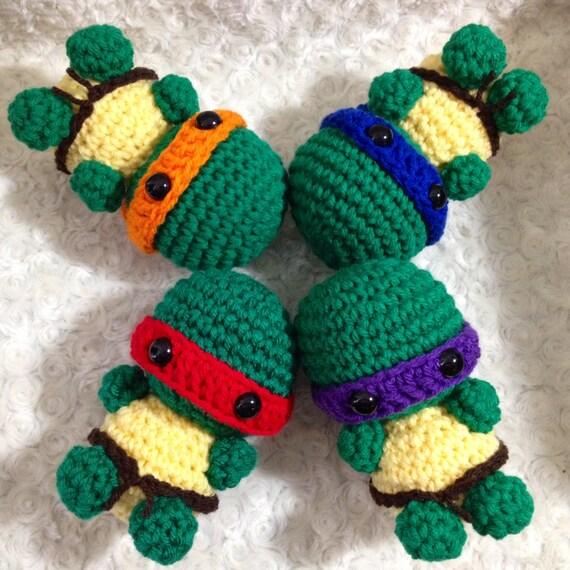 Set of 4 Amigurumi Crochet Turtle with Ninja by ...
