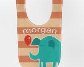 Elephant Baby Bib, Personalized Baby Bib, Balloon Baby Boy Bib, Custom Infant Bibs