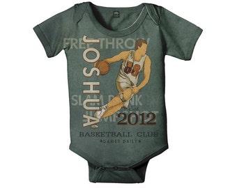Personalized Basketball Bodysuit, Custom Boy's Sport One Piece, Baby Onepiece Romper, Baby Boy Clothing