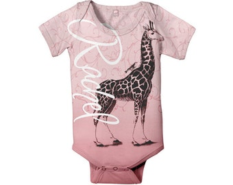 Pink Giraffe Infant Bodysuit, Personalized Baby Girl One-Piece
