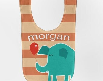 Elephant Baby Bib, Personalized Baby Bib, Balloon Baby Boy Bib, Custom Infant Bibs