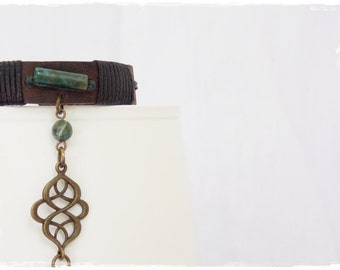 Celtic Slave Bracelet, Elven Ringlet , Brass Chain Bracelet, Infinity Leather Bracelet Cuff, LARP Elf Jewelry, BDSM Leather Slave Bracelet