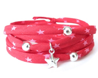 Hipster bracelet in raspberry and pink with silver beads and star charm, cotton cord wrap bracelet for teen girls