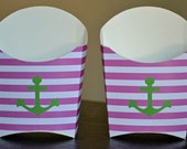 Pink & Green Nautical Stripes and Anchor Favor Box - Set of 12