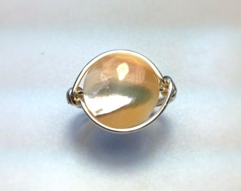 Wire Wrapped Golden Mother of Pearl Ring - Silver, Black, or Gold Wire - Made To Order