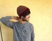 Men's Beanie Beenie in Burgundy Crochet Striped Gift for Guys
