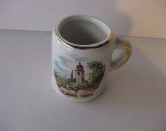 "Souvenir ""St. Moritz 1850m "" Porcelain Toothpick Holder Mini Mug Mid-Century Gift Cottage Kitchen Bar"