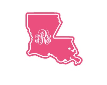 Louisiana Monogram Vinyl Decal - Single Color