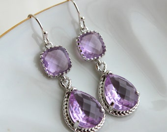 Silver Lavender Earrings Lilac Purple Jewelry Teardrop Glass Two Tier Earrings Bridesmaid Earrings Wedding Earrings Lavender Wedding Jewelry