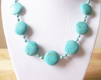 Handmade Jewelry, Beaded Necklace, Turquoise Jewelry, Turquoise Necklace, Howlite Turquoise Beaded Necklace, Beadwork, Statement Necklace