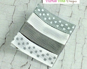 Grey and White Baby Hair Clips - Simple Alligator Hair Clip - No Slip Grip - Baby, Girl, Toddler, Children