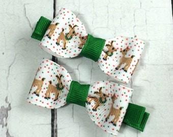 Christmas Rudolph Polka Dot Baby Hair Bows - NEW Small Hairbows - Tuxedo Bow - No Slip Grip- Baby, Toddler. Girls