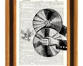 Fly and Cymbal Print, Book page art, fantasy collage, steampunk Print, Wall art decor, dictionary art print, kids art