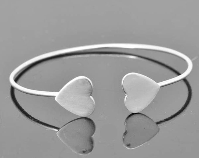 Heart Bangle, Heart Jewelry, Heart Bracelet, Sterling Silver Bangle, Sterling Silver Bracelet, two heart bangle, adjustable bangle