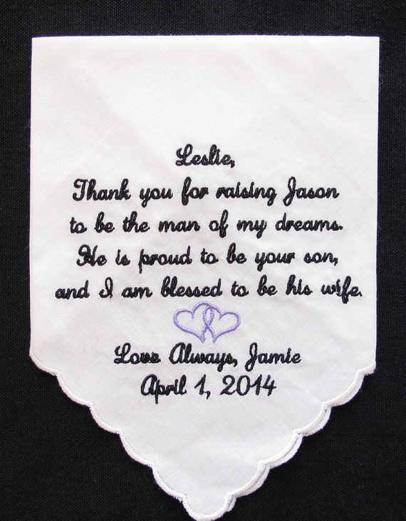 Mother of the Groom Scalloped Edge Embroidered Wedding Handkerchief