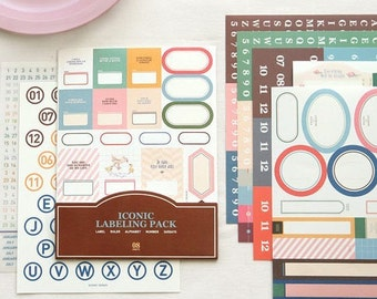 Iconic LABELING PACK Sticker Sheets: 11 SHEETS (year calendar, rulers, vintage labels, numbers, alphabet)