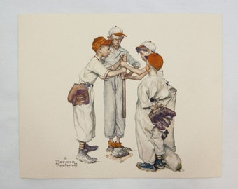 Vintage 1970's Norman Rockwell Choosin' Up Sporting Boys Baseball Print and Card Set