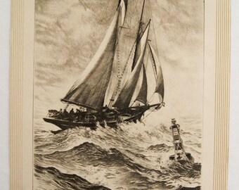Vintage 1940's R.H. Palenske Heavy Seas Sailing Print
