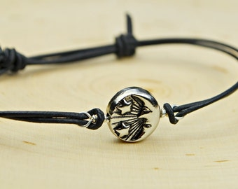 Reversible Sun and Moon Leather Adjustable Bracelet-  Silver Tone Sun and Moon Bead and Sterling Silver Filled Wire Wrapped Bracelet