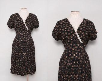 1980s Floral Dress / Vintage 80s Pleated Dress / Medium Large