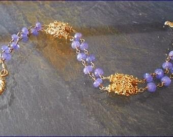 Gold Gemstone Bracelet, Tanzanite ,Vermeil ,Bracelet