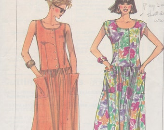 1987 Breezy Drop Waist Summer Dress, Simplicity 8007, Button Front, Cap Sleeves, Dart Fitted, Gathered Skirt, Patch Pockets, Easy to Sew,