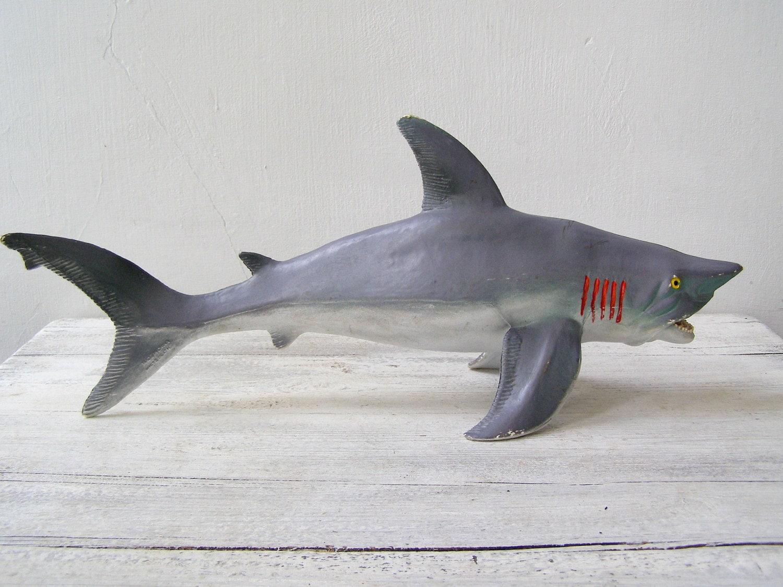 Vintage 80s Display Shark Toy Nautical Beach House Man