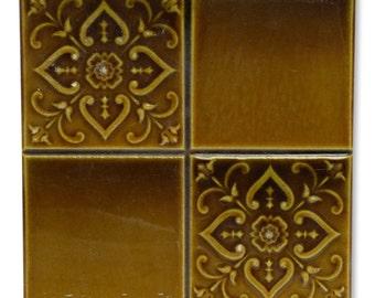 Amber four fold floral ceramic tiles