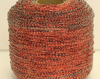 Large Vintage Red silver metallic yarn