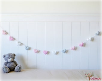 Heart banner - garland - bunting - pink, white, grey - nursery decor - MADE TO ORDER