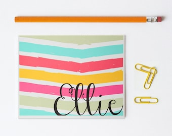 Custom Stationary Personalized Colorful Stationery Bright Stripes Note Cards Kids Stationary Pink Yellow Turquoise Coral Thank You Notes