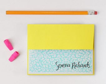 Custom Stationery Bright Neon Leopard Print Stationary Yellow and Turquoise Teal Animal Print Note Cards Personalized Stationary - Set of 10