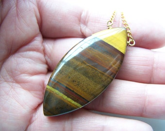 Perfect Marquise Tiger Eye Pendant with Earrings